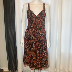 Burberry Silk Floral Print Pleated Dress Lined